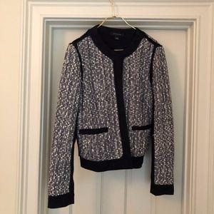Ann Taylor Navy & White Tweed Blazer